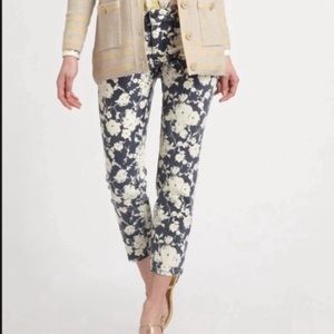 Tory Burch Alexa Cropped Floral Skinny Jeans